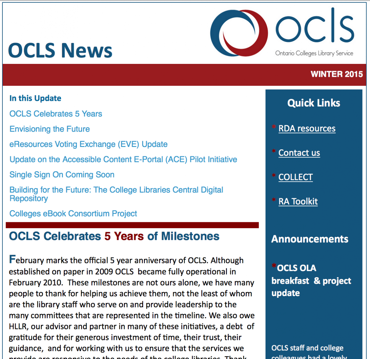 OCLS News - Winter 2015