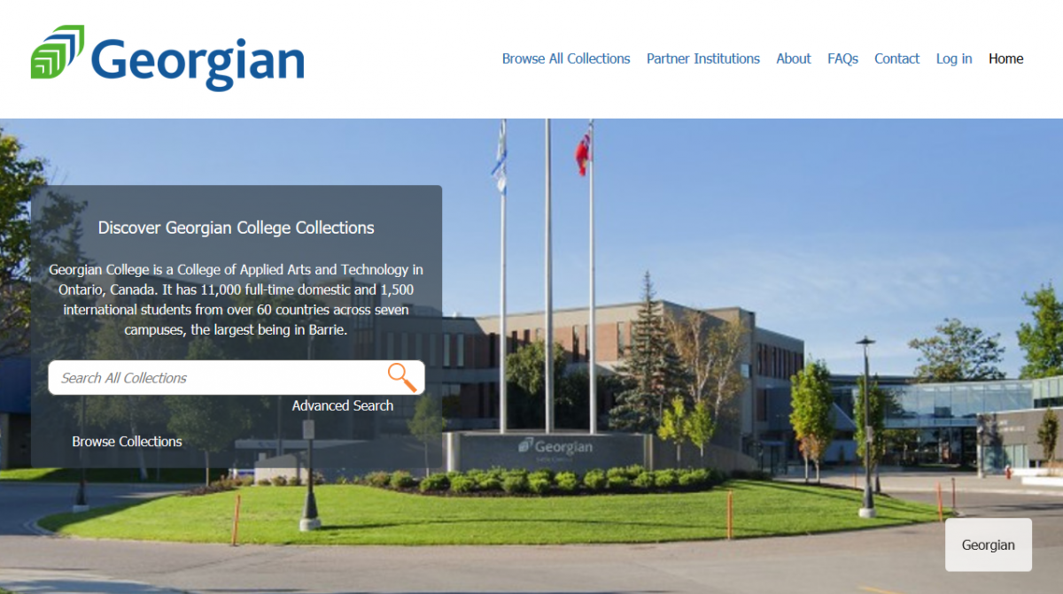 Screenshot of the CORe landing page for Georgian College